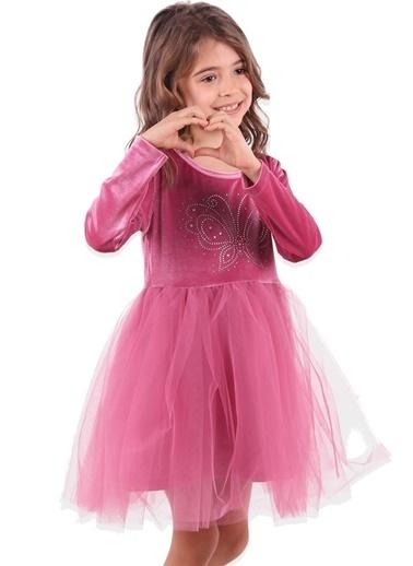 Breeze Kız Çocuk Kadife Elbise Taşlı Pembe